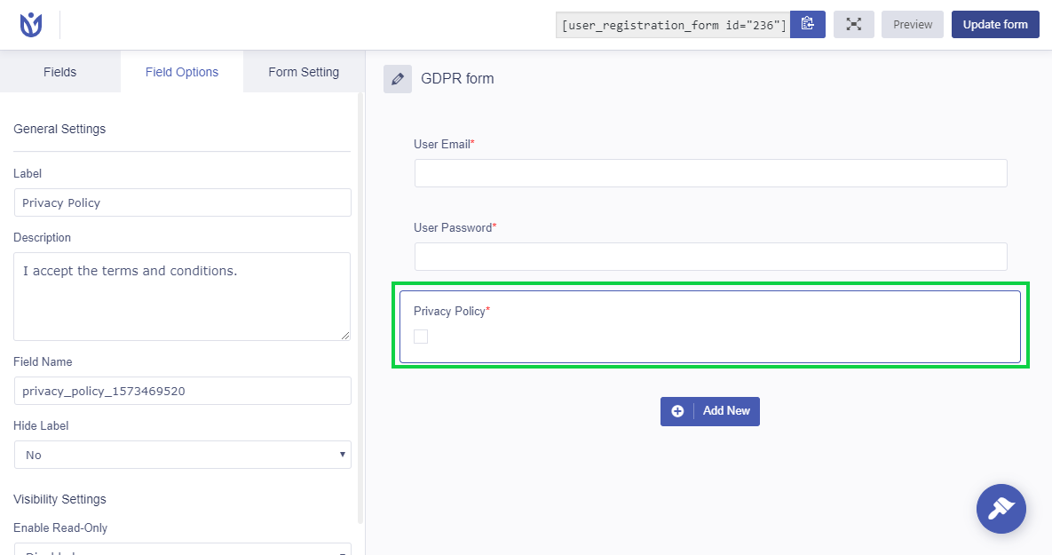 User Registration privacy policy field