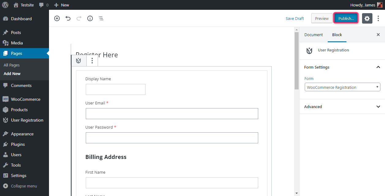 User Registration WooCommerce Form