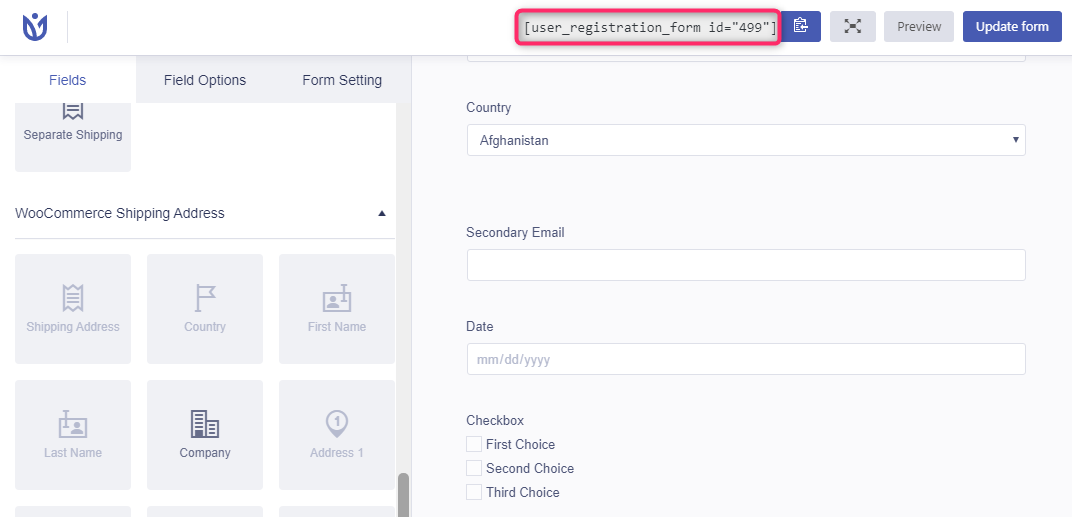 WooCommerce Registration form Shortcode