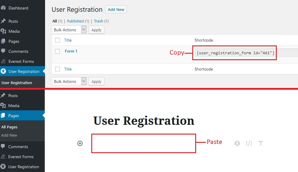 User Registration Shortcode