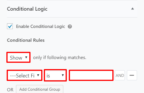 conditional logic in WordPress forms