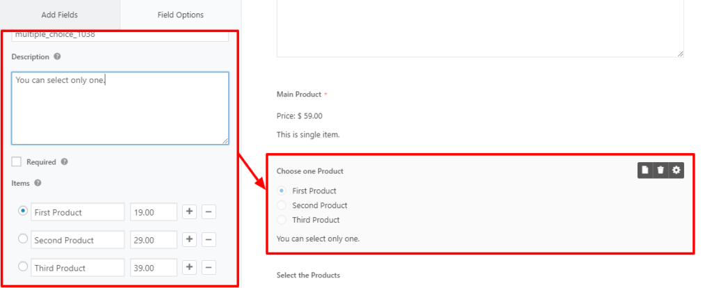 payment option in WordPress forms