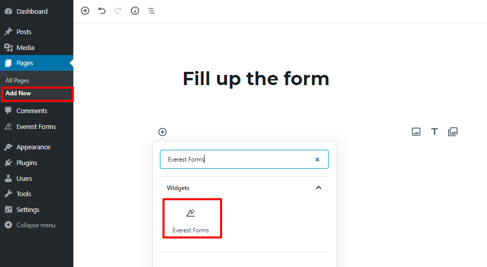 wordpress form display