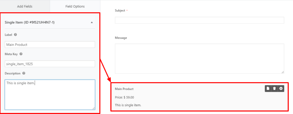 wordpress form with payment option single item