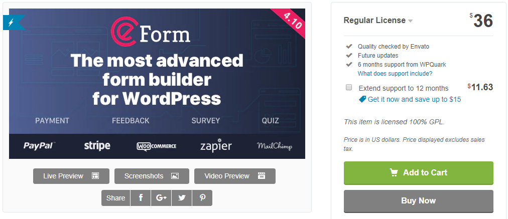 eForm WordPress Quiz Plugins