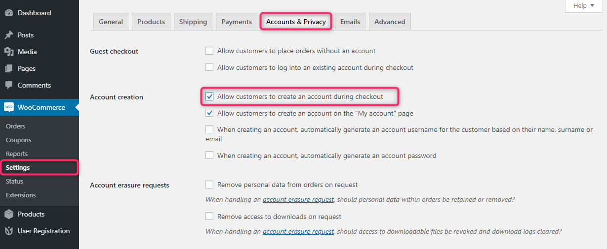 WooCommerce checkout page settings