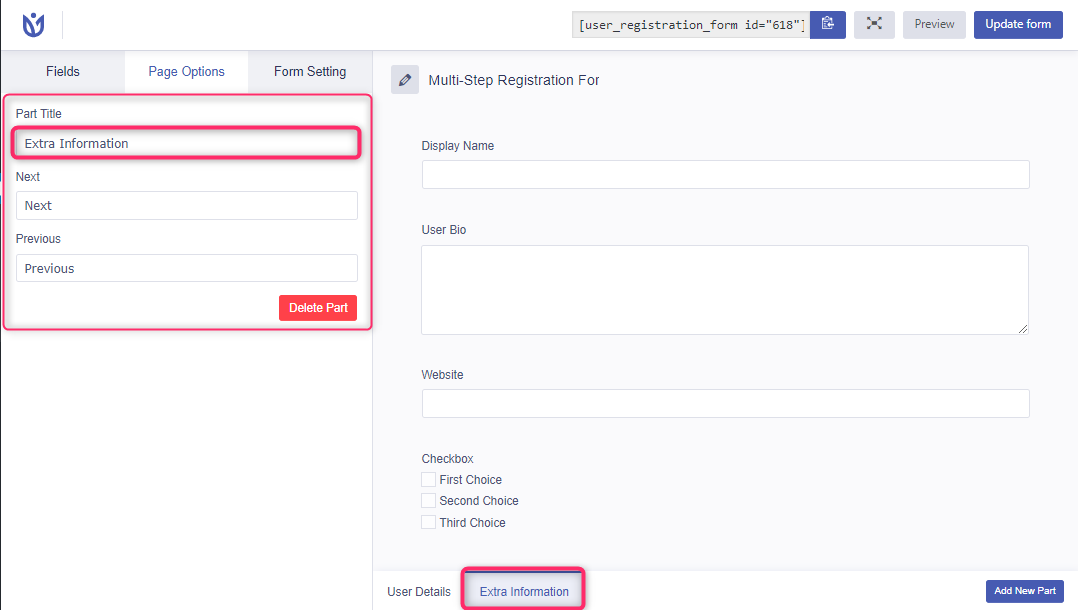 Multi step registration form customize title