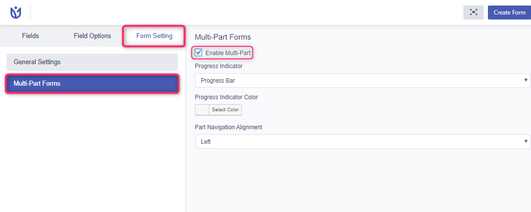 multi part registration form enable