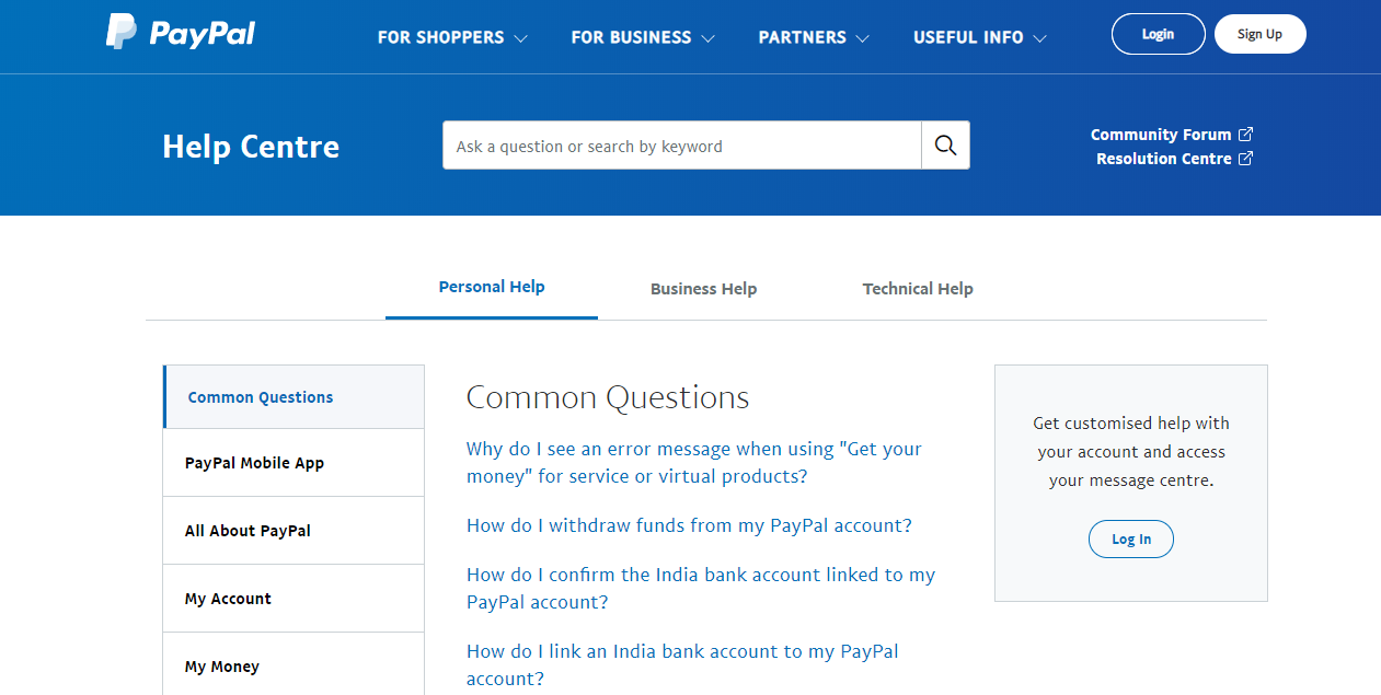 PayPal help centre