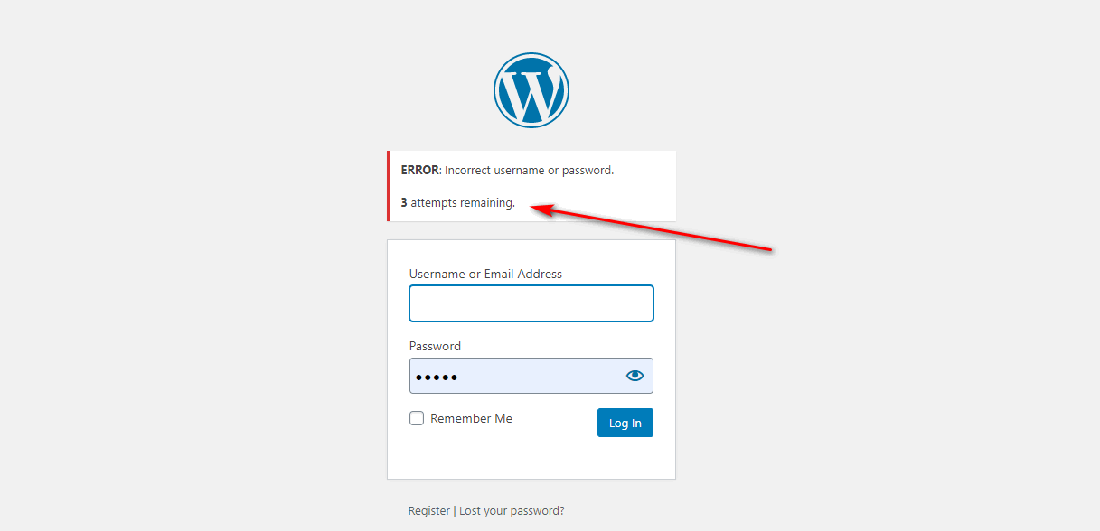 WordPress login attemps left