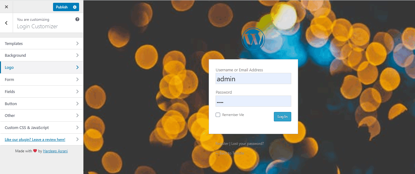 wordpress login customize