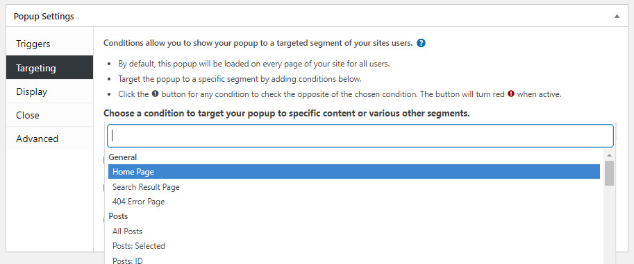 Targeting WordPress Popup form
