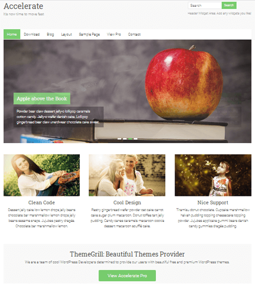 Accelerate Free Responsive WordPress Theme for Blogs