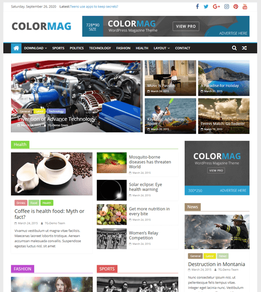 ColorMag best Free Magazine WordPress Theme