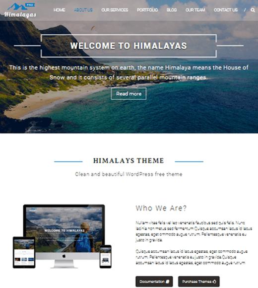 Himalayas Best Free One Page WordPress Theme