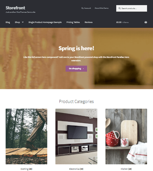Official and Best Free WordPress WooCommerce Theme 'Storefront'