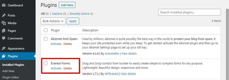 Activating Plugin Everest Forms
