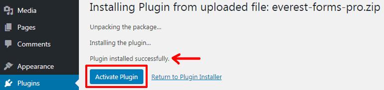 Activating Installed Premium Plugin