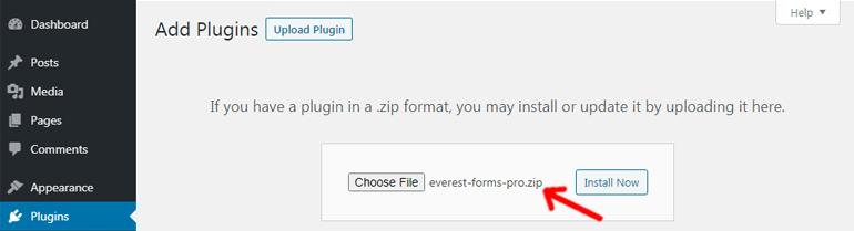 Choosing a Zip File