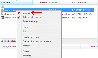 Upload Button in FTP