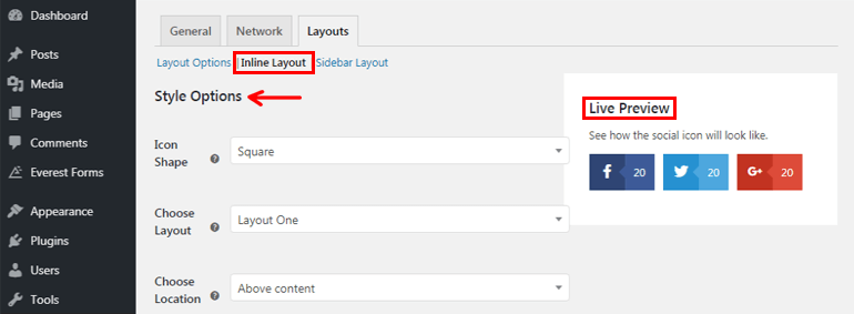 Inline Layout Styling Options