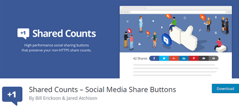 Shared Counts Social Media Share Buttons