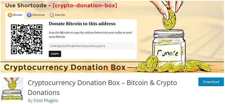 Cryptocurrency Donation Box Plugin