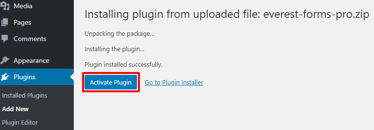 Activate Plugin Button