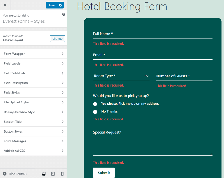 Customizer Everest Forms