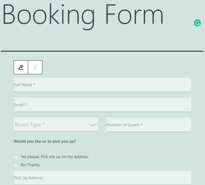 Hotel Booking Form Applied