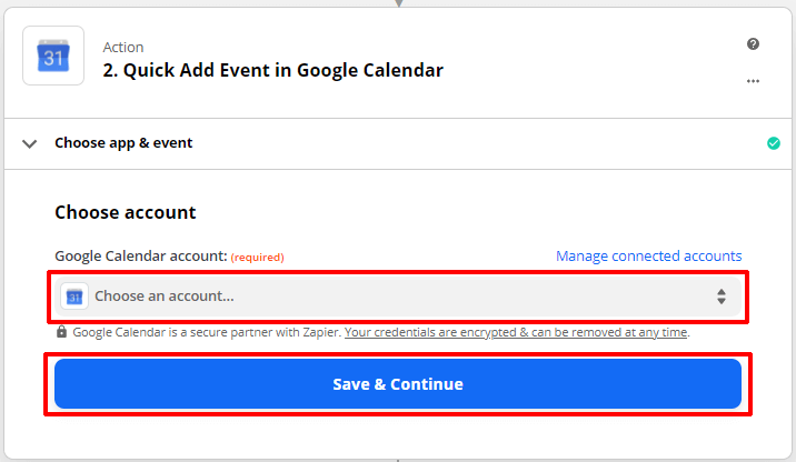 Choose a Google Calendar Account