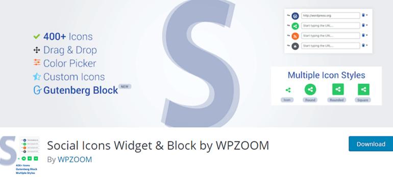 Social Icons Widget & Block by ZOOM