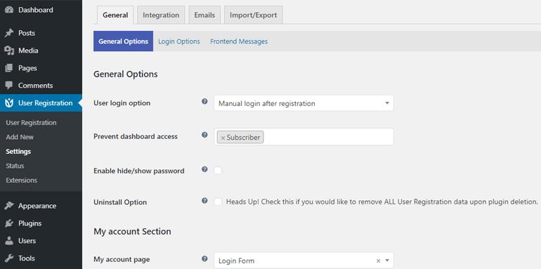 General Settings of User Registration Plugin