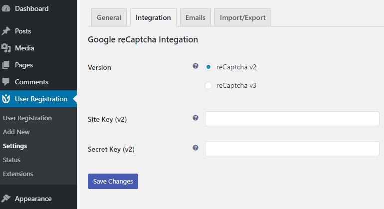 Integrations Tab User Registration