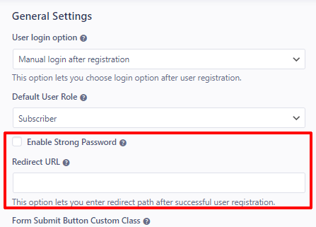 Strong Password and Redirect Option