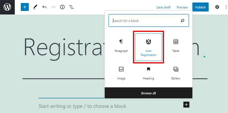 User Registration Block