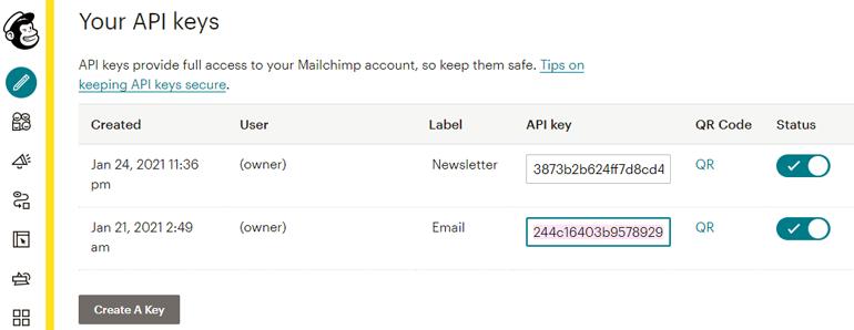 API Keys MailChimp
