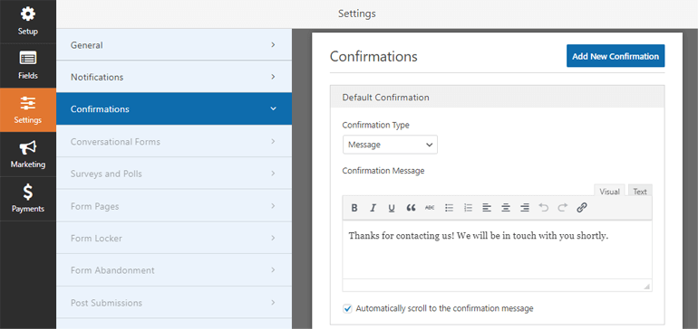 Confirmation Tab Everest Forms