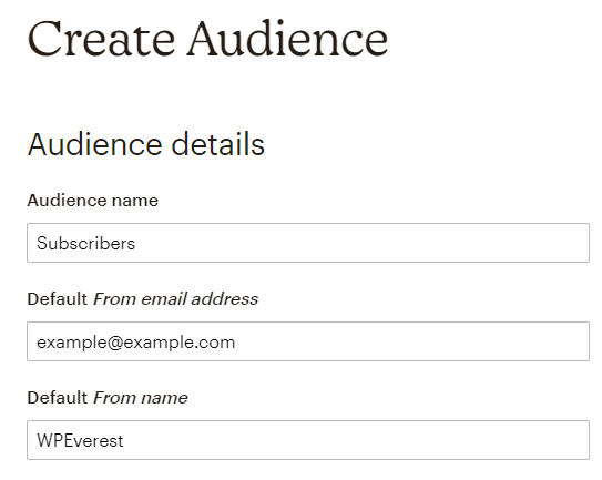 Create Audience Form