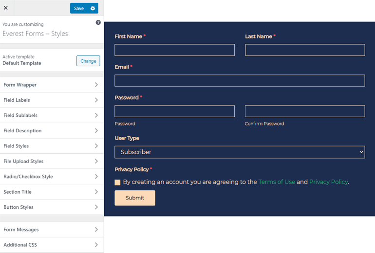 Customizer Interface Everest Forms