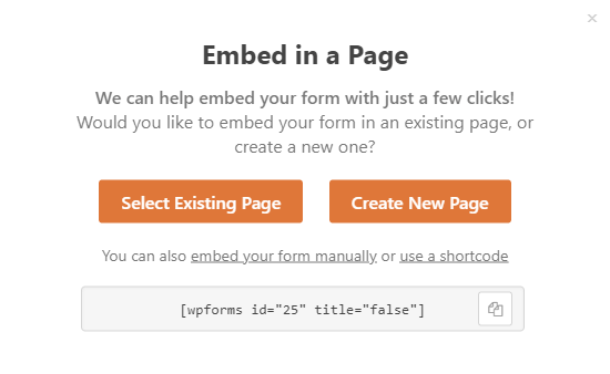 Embed Options WPForms