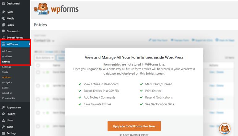 Entries WPForms