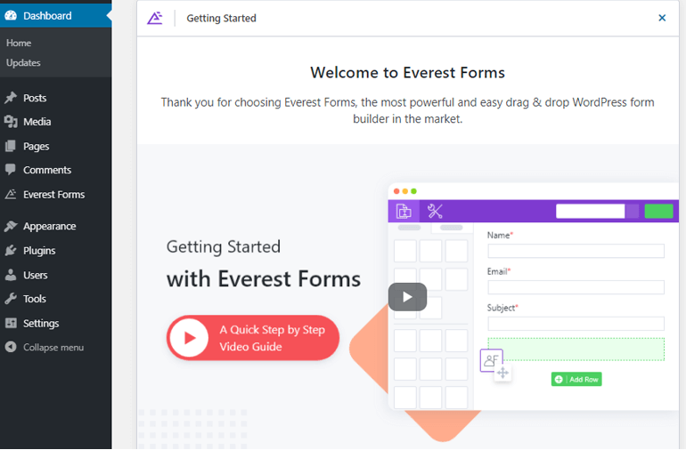 Welcome Page Everest Forms
