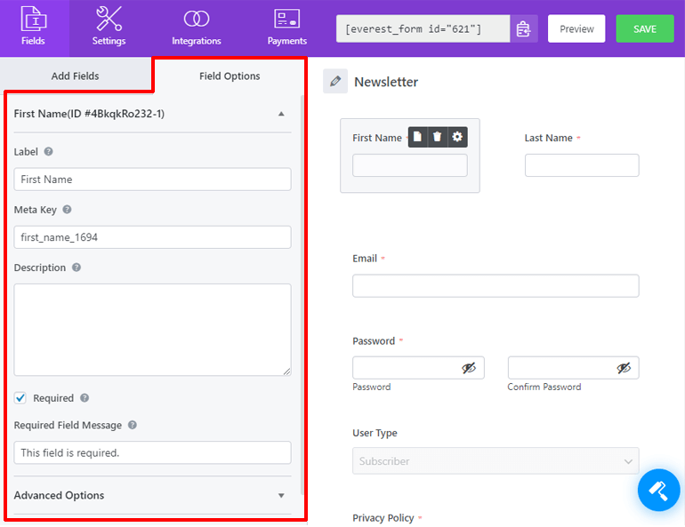 Field Options Tab Everest Forms