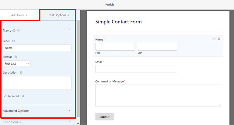 Field Options WPForms
