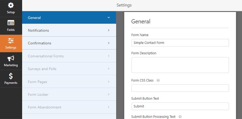 General Settings WPForms