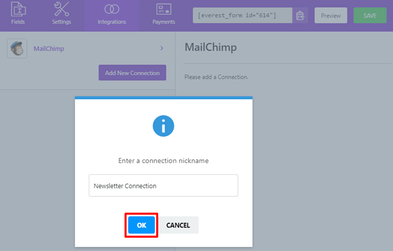 MailChimp Connection Name