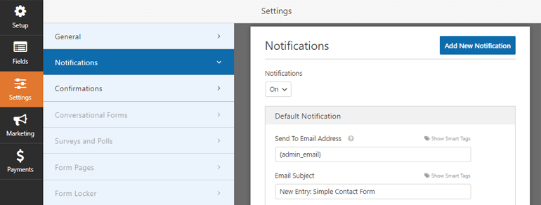 Notifications Tab Everest Forms