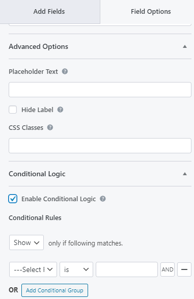 Placeholder Text to Conditional Logic