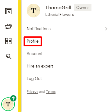 Profile on Menu
